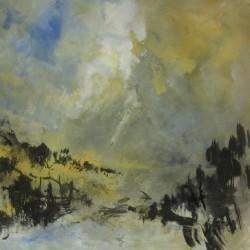 Des terres encore sauvages, 2014 Acrylique sur papier 50 X 50 cm