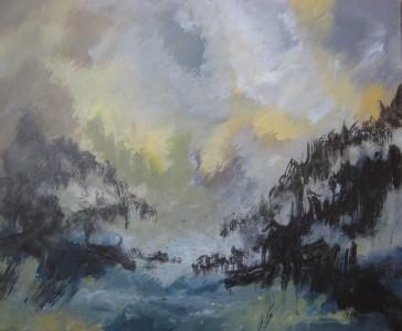 Au flan des brumes, 2014 Acrylique et encre de Chine sur toile, 73 X 60 cm