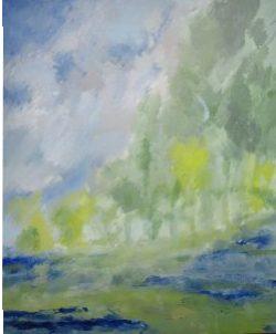 Le Loing vers Gien i, 2016 Acrylique sur toile 65 X 54 cm
