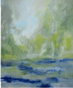 Le Loing vers Gien II, 2016 Acrylique sur toile 65 X 54 cm