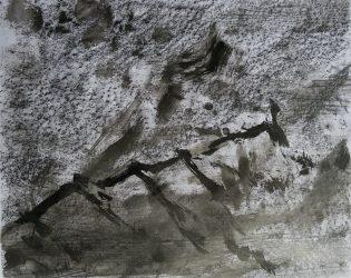 Ecriture de pierre III, 2016 Encre de Chine et crayon graphite sur papier 65 X 50 cm