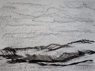 Ecriture de pierre et de plume V, 2016 Encre de Chine et crayon graphite sur papier 65 X 50 cm